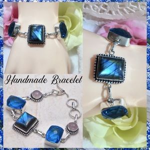 Natural Labradorite Blue Topaz Handmade Bracelet